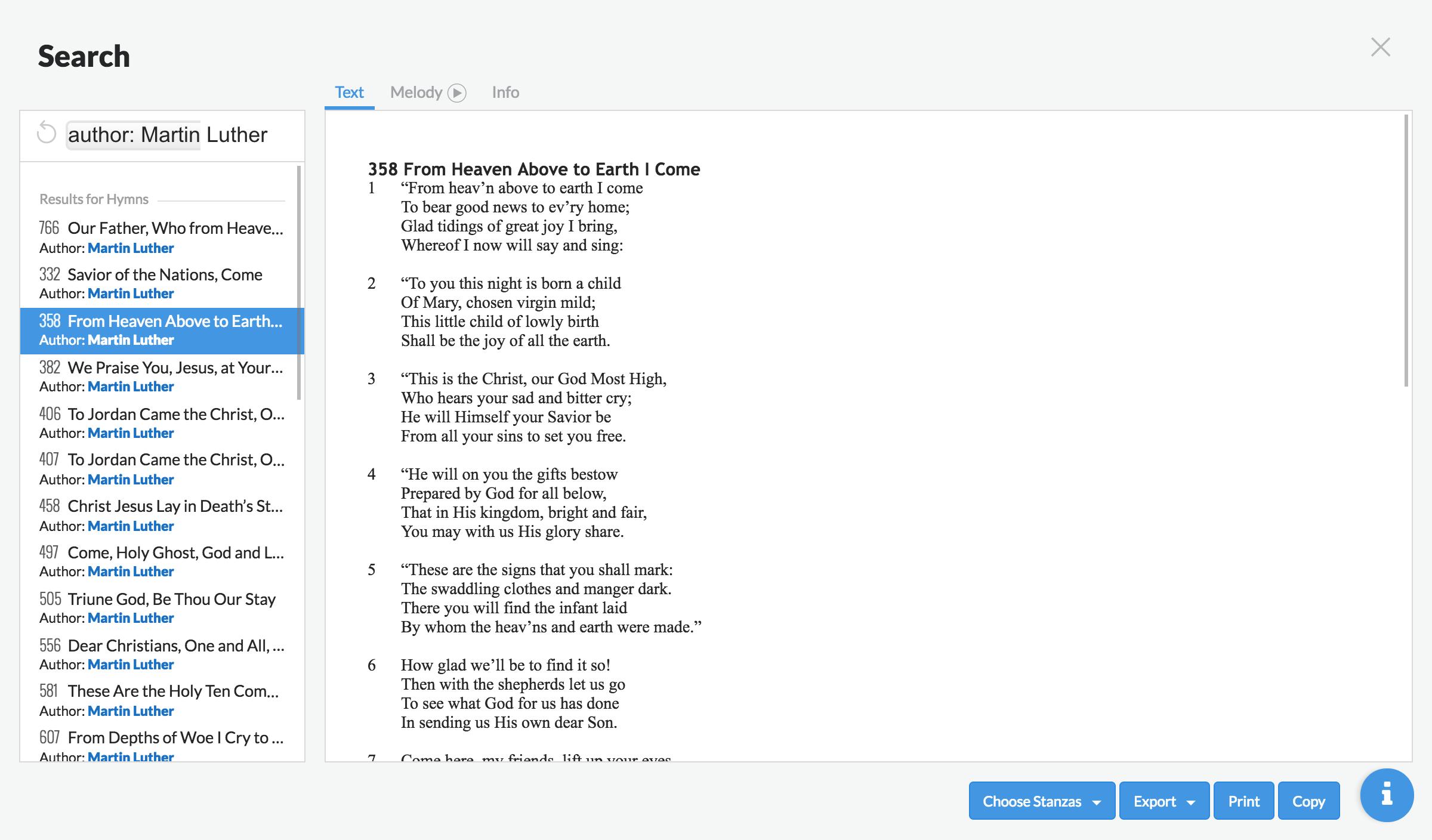 Screenshot of global search tool
